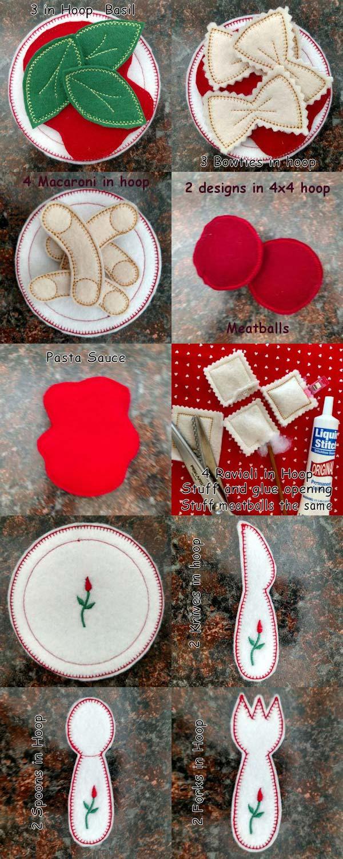 Felt Foodies Pasta Machine Embroidery Designs