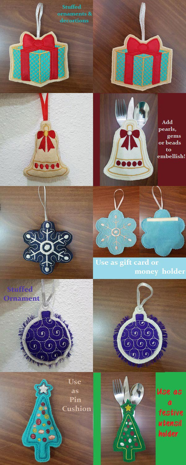 In The Hoop Festive Ornaments and More Embroidery Machine Design Details