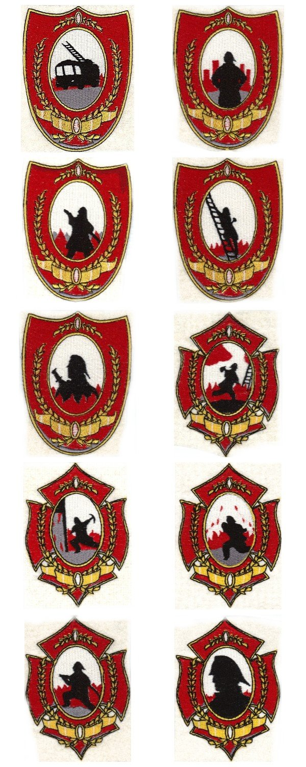 Fire Fighter Badges Embroidery Machine Design Details