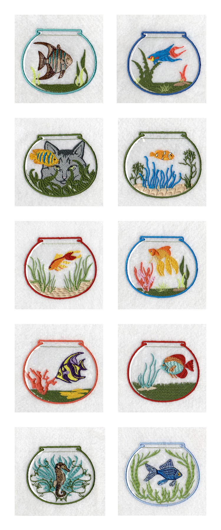 Machine embroidery designs vinyl covered fish bowls set