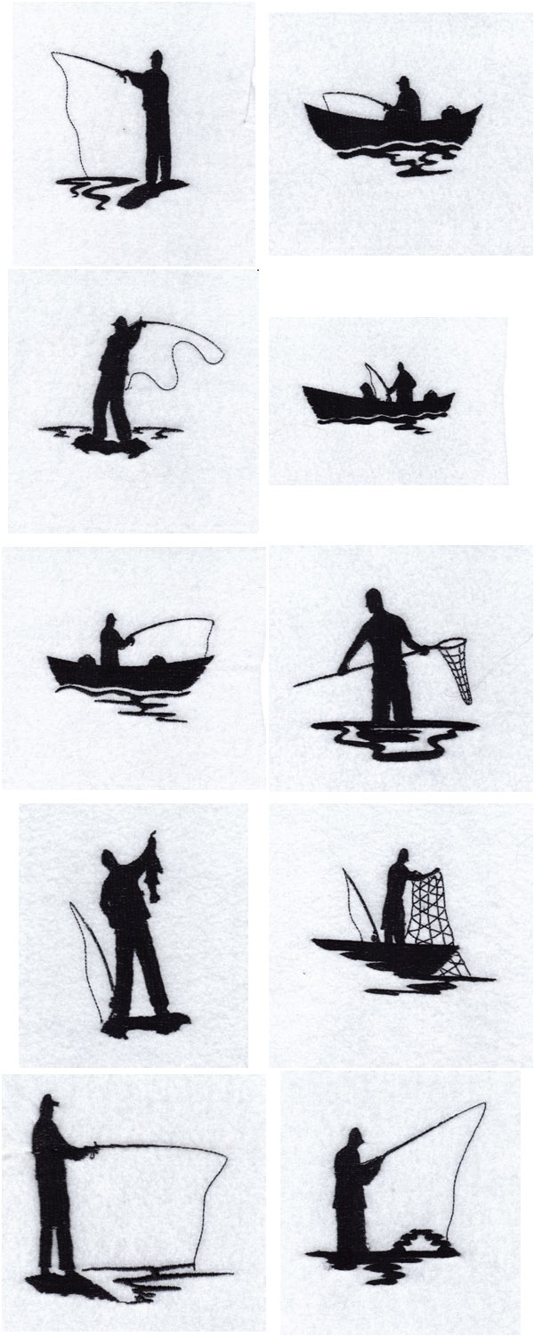 Fisherman Silhouettes Embroidery Machine Design Details