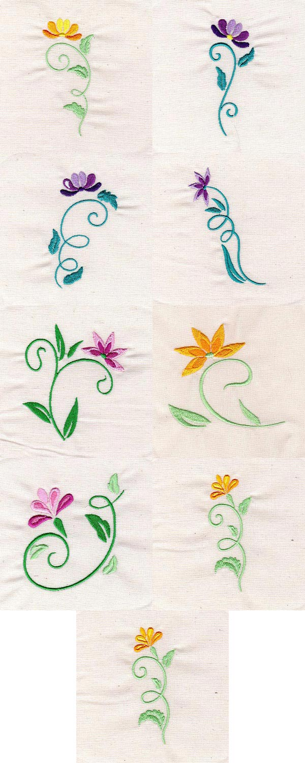 Floral Art Nouveau Embroidery Machine Design Details