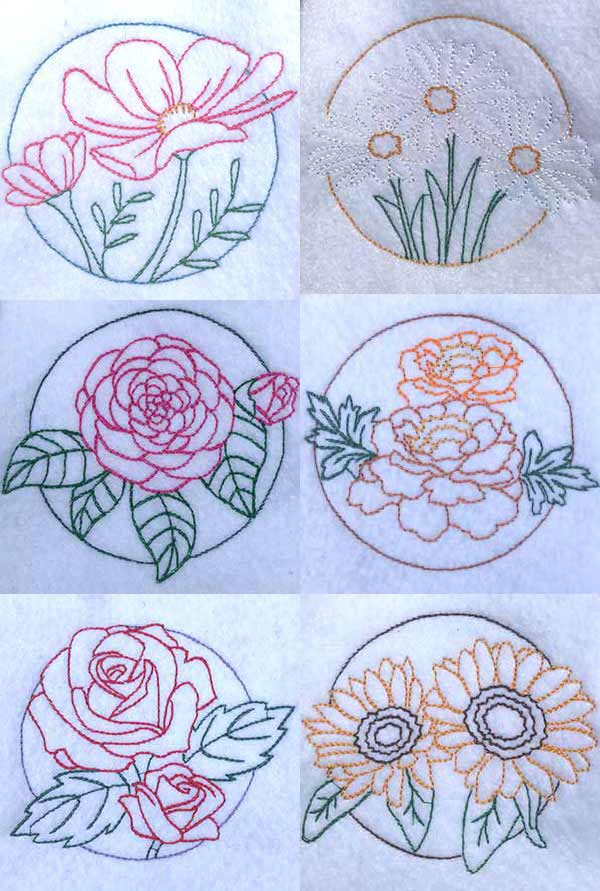 Floral Circles Embroidery Machine Design Details