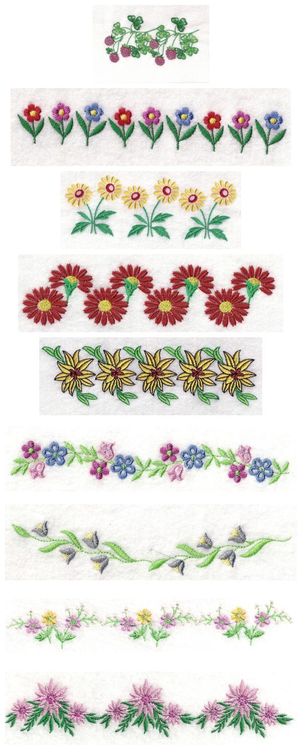 Machine Embroidery Designs - 5x7 Floral Endless Borders Set