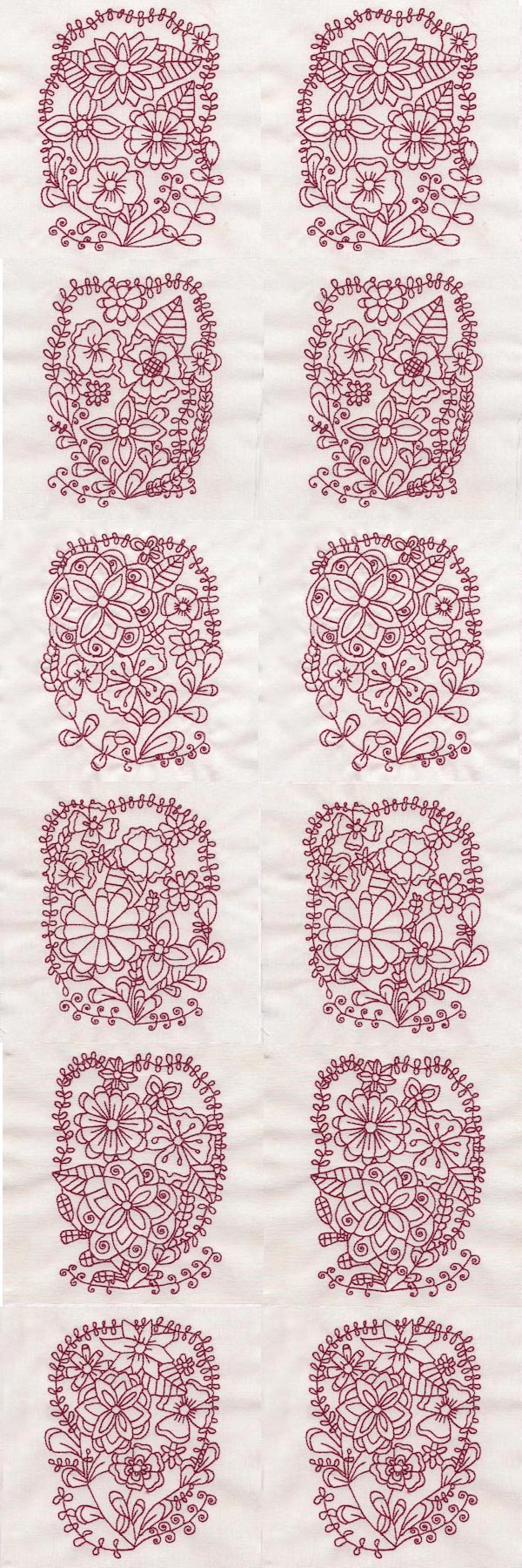 Floral Ovals Colorline Embroidery Machine Design Details