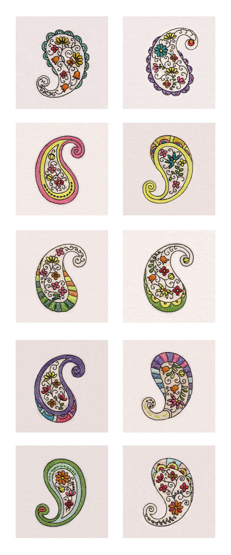Floral Paisley Embroidery Machine Design Details