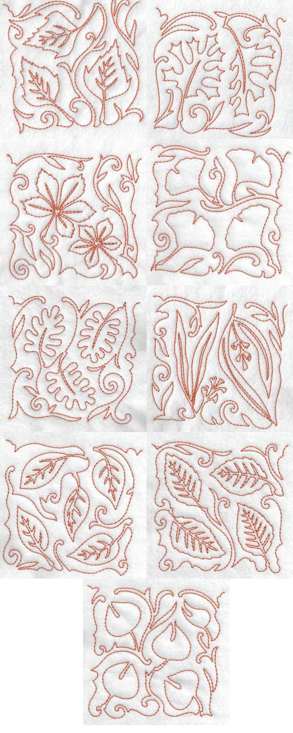 Free Motion Fall Leaves Blocks Embroidery Machine Design Details