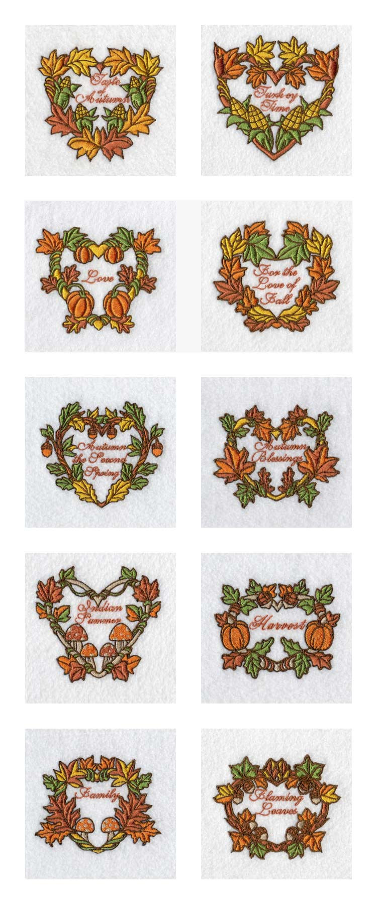 For The Love of Fall Embroidery Machine Design Details