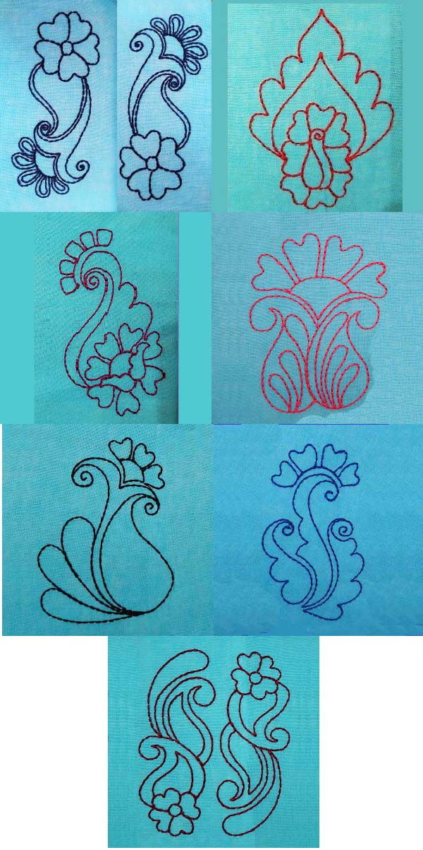 Freehand Floral Blocks Embroidery Machine Design Details