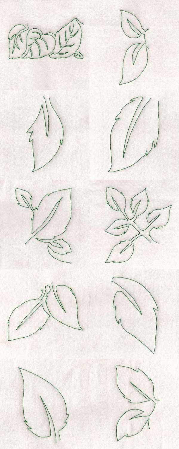 Free Motion Rose Leaves Embroidery Machine Design Details