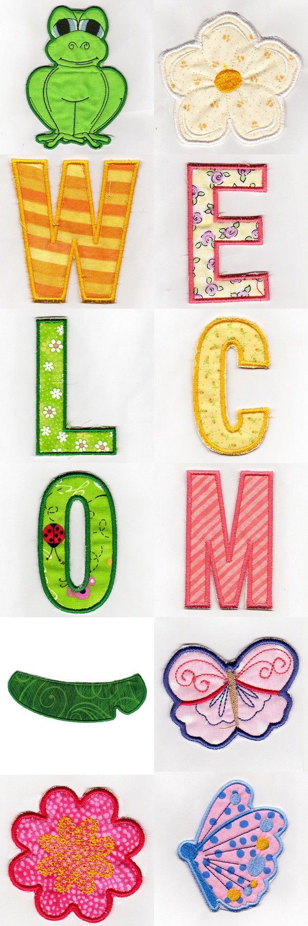 Frog Welcome Banner Embroidery Machine Design Details