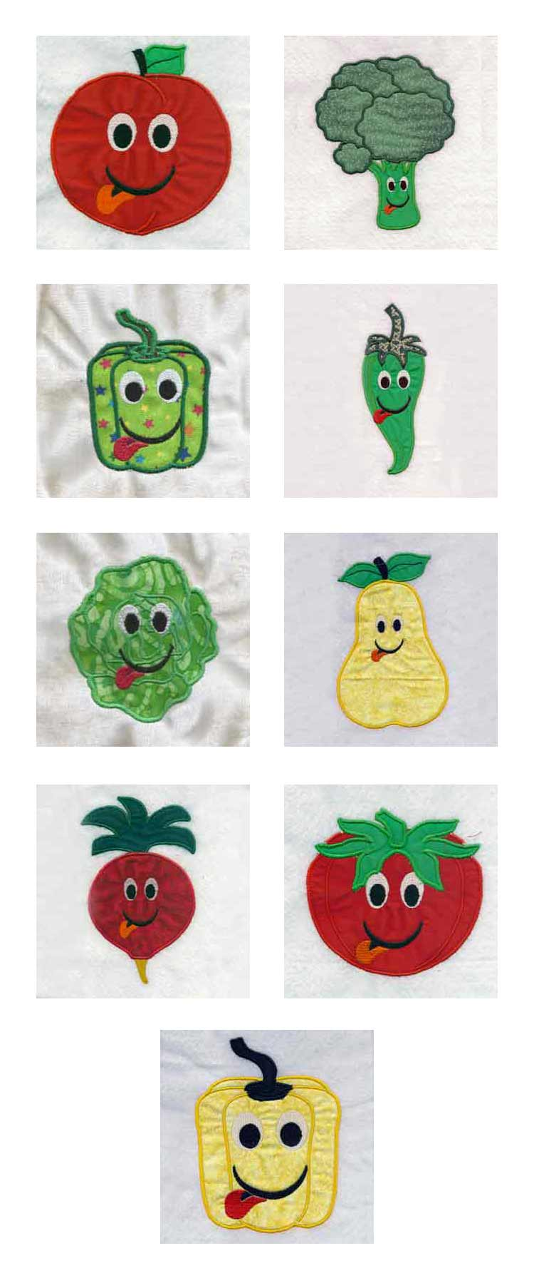Applique Fruits and Veggies Embroidery Machine Design Details