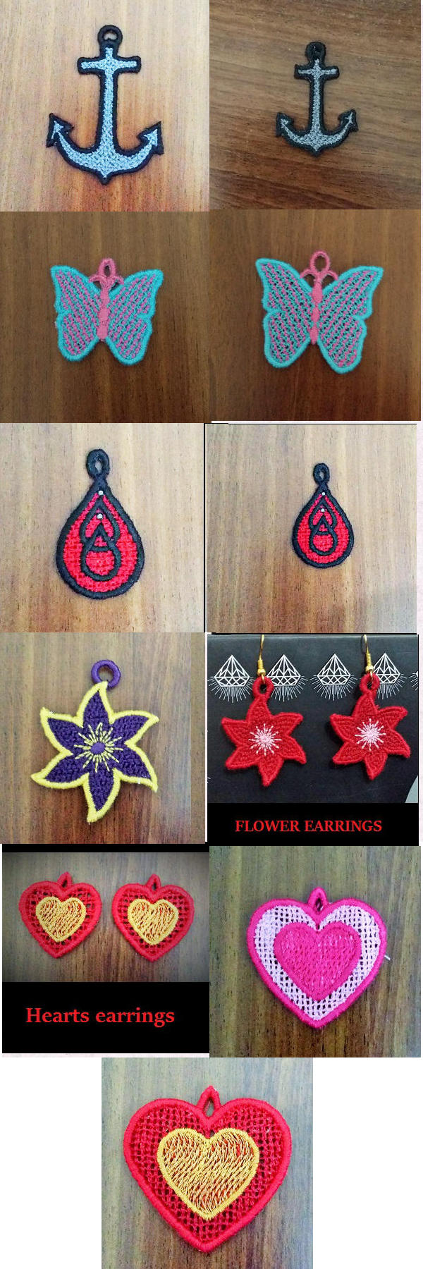 FSL Earrings Charms and Pendants Embroidery Machine Design Details
