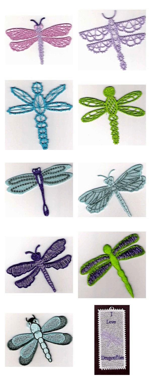Machine Embroidery Designs Fsl Dragonflies Set