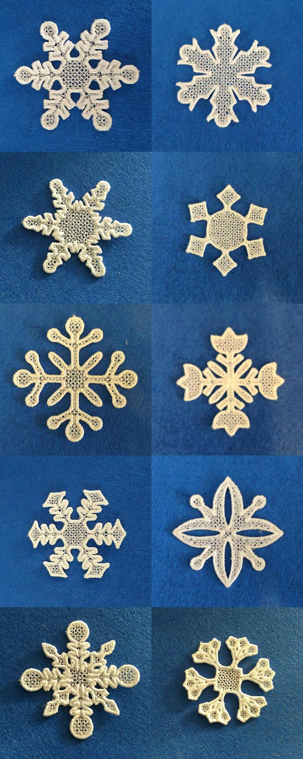 FSL Easy Snowflakes Embroidery Machine Design Details