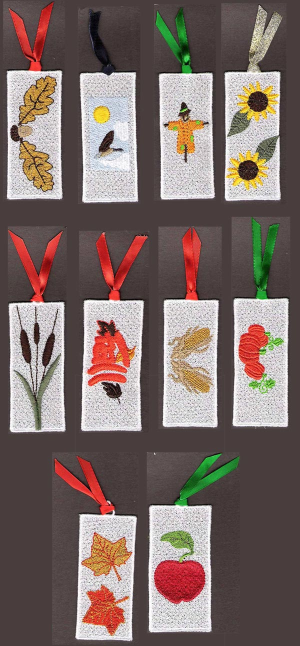 FSL Fall Bookmarks Embroidery Machine Design Details