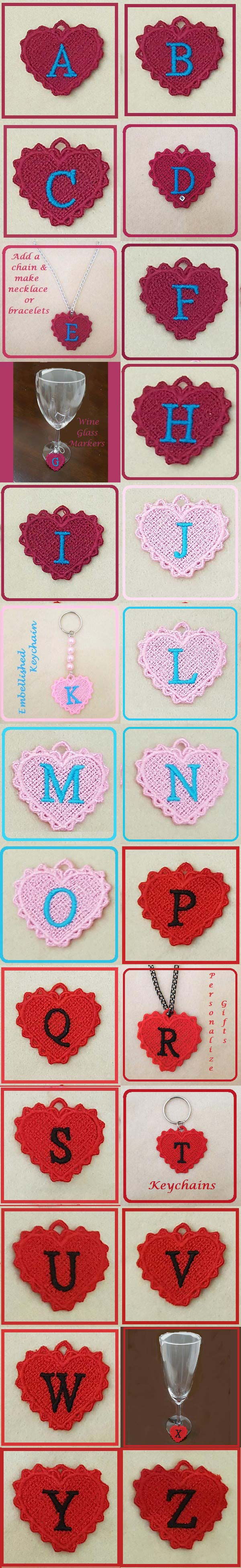 FSL Heart Alphabet Charms Embroidery Machine Design Details