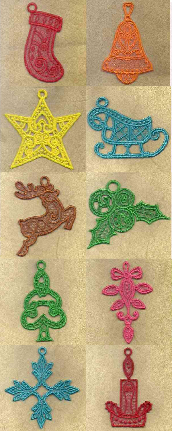 FSL Holiday Ornaments Embroidery Machine Design Details