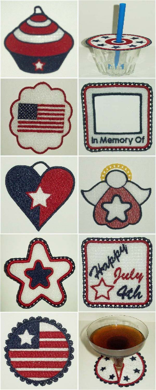 FSL July 4th Embroidery Machine Design Details