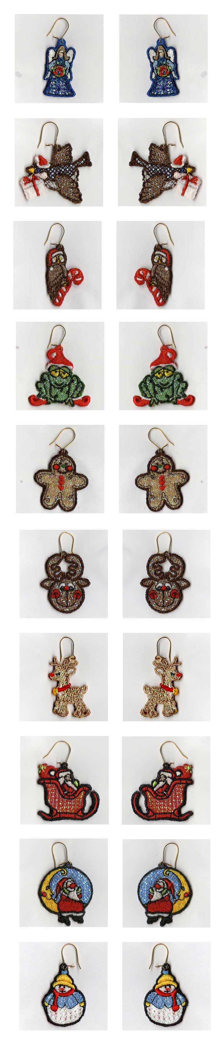 Free Standing Lace Mylar Holiday Earrings v2 Embroidery Machine Design Details