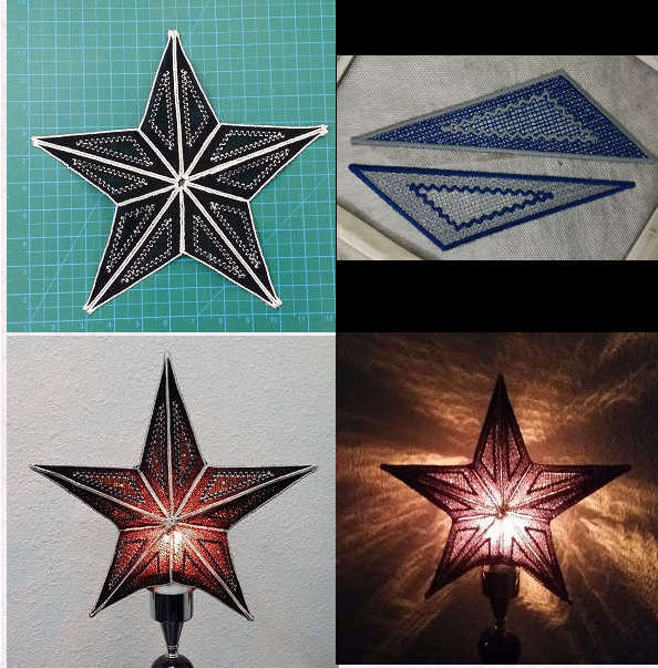 FSL Star Lamp or Tree Topper Embroidery Machine Design Details