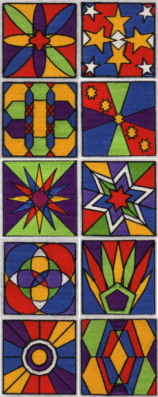 Machine embroidery designs geometric blocks set