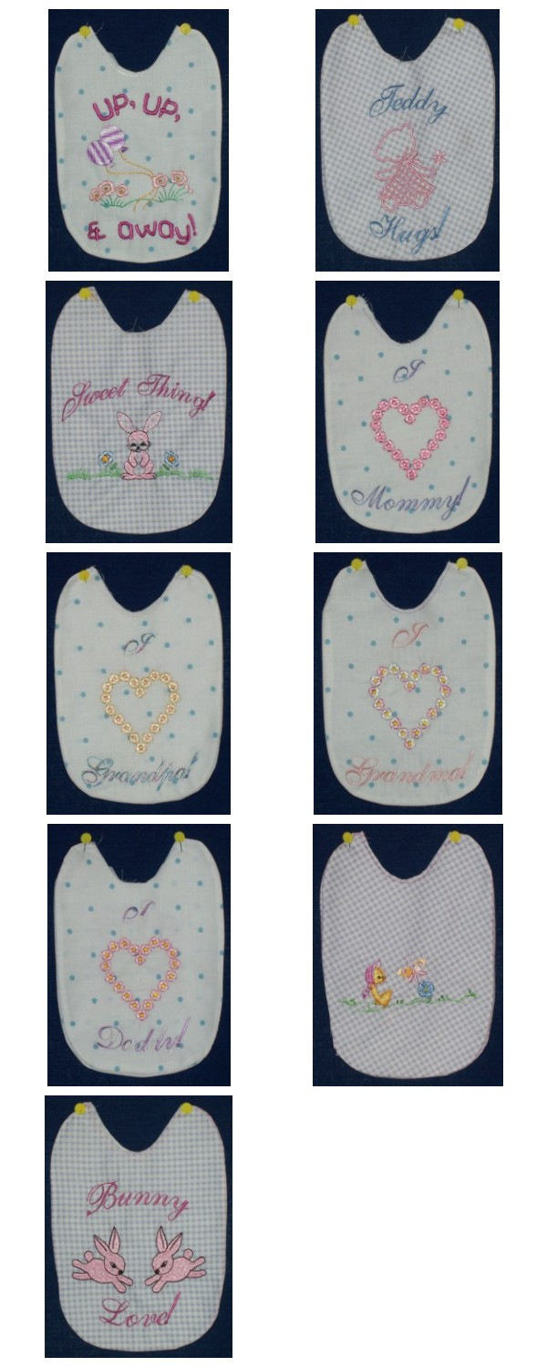 Girl Bibs Embroidery Machine Design Details