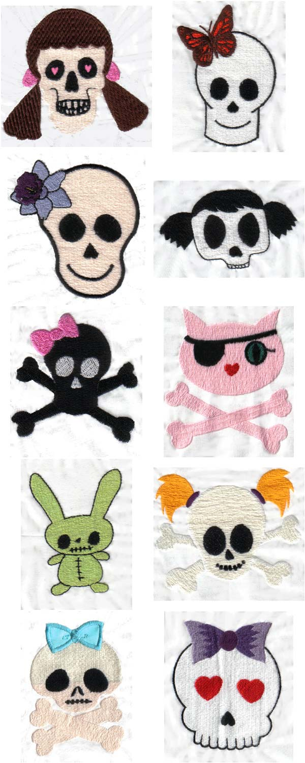 Girly Skulls Embroidery Machine Design Details