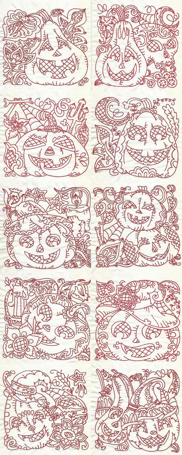 Halloween Pumpkin Blocks Embroidery Machine Design Details
