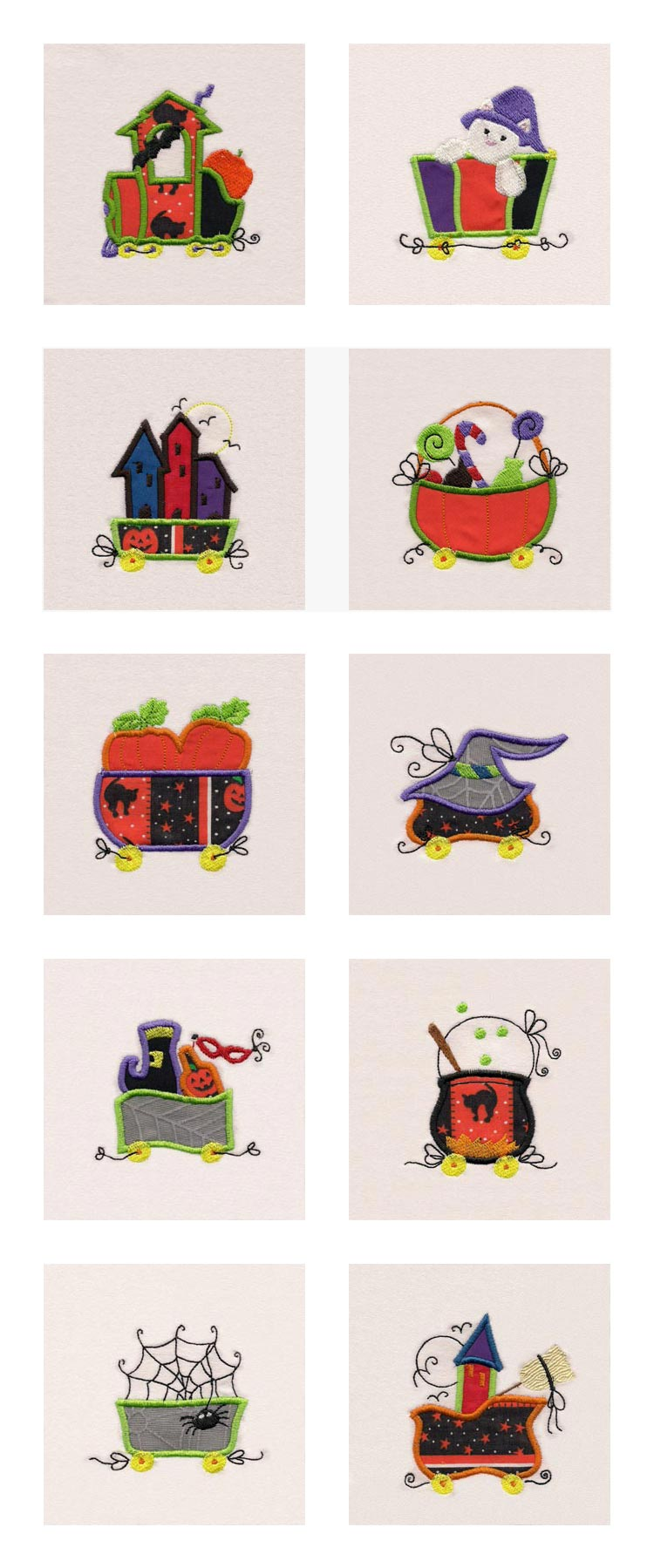 Applique Halloween Train Embroidery Machine Design Details