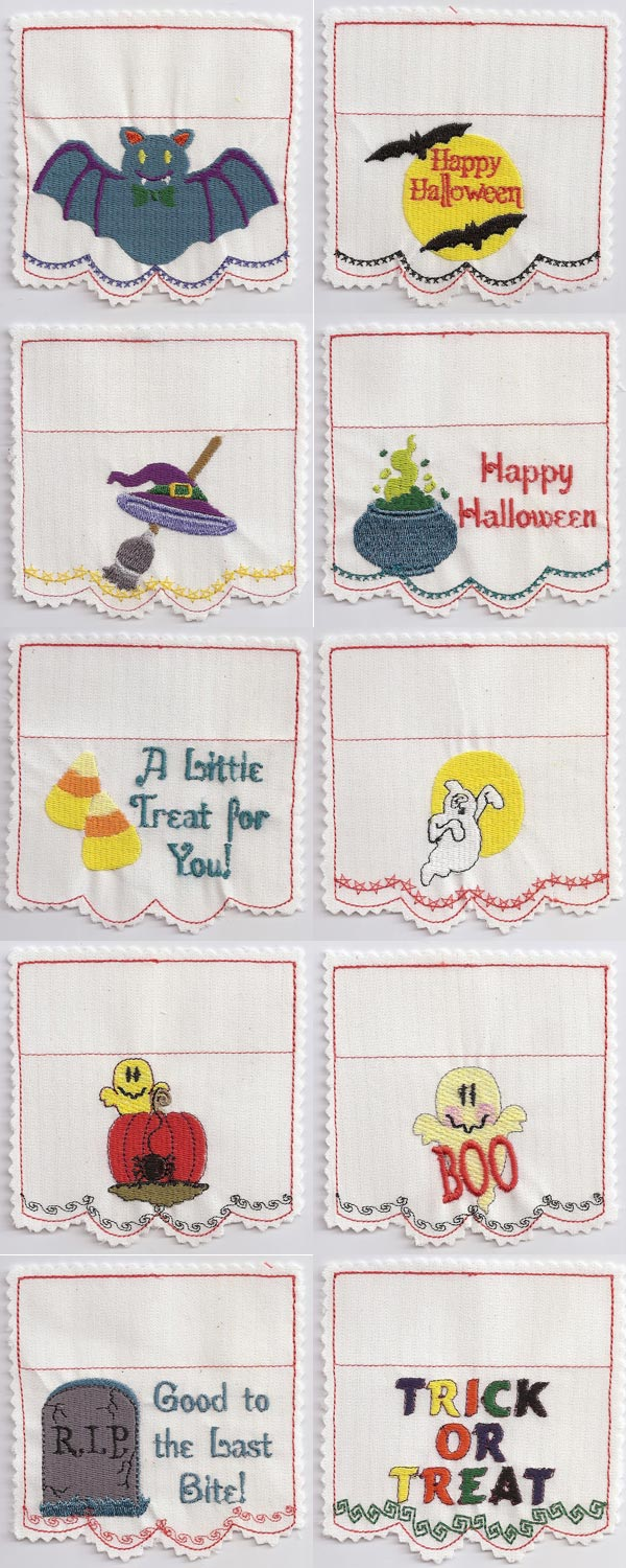 Halloween Goodie Bag Toppers Embroidery Machine Design Details