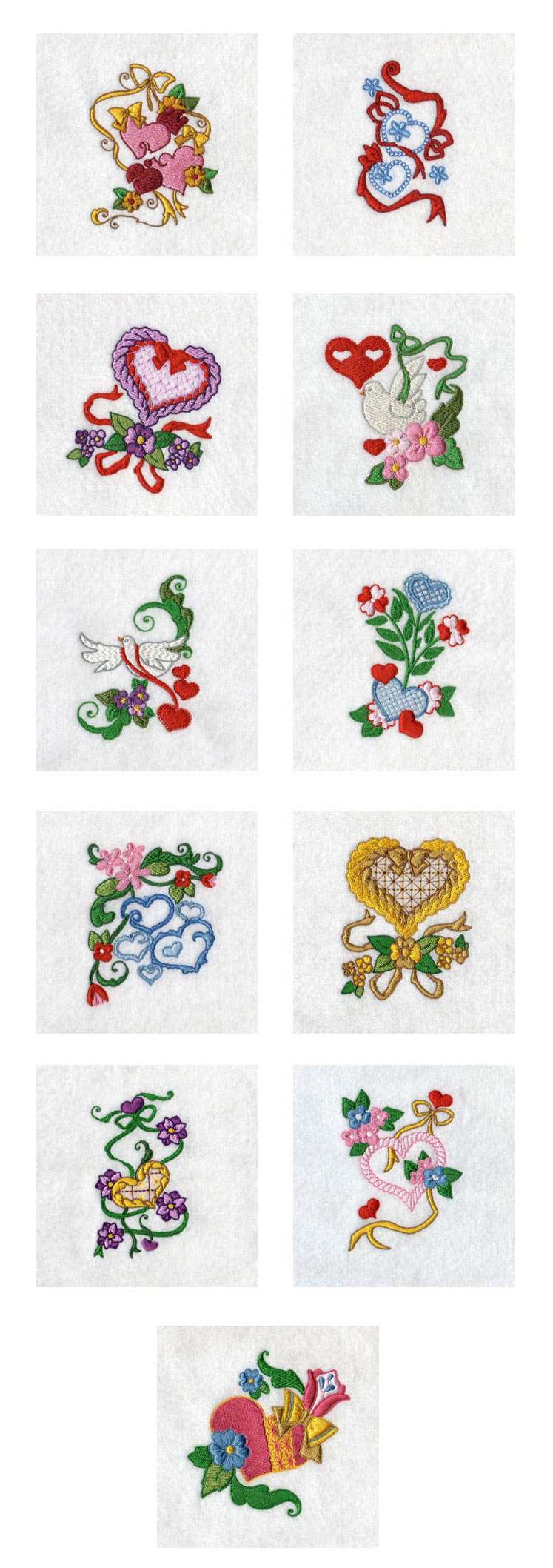 Hearts and Ribbons Embroidery Machine Design Details