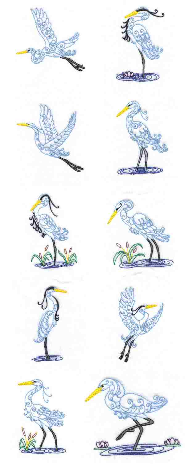 Herons Embroidery Machine Design Details