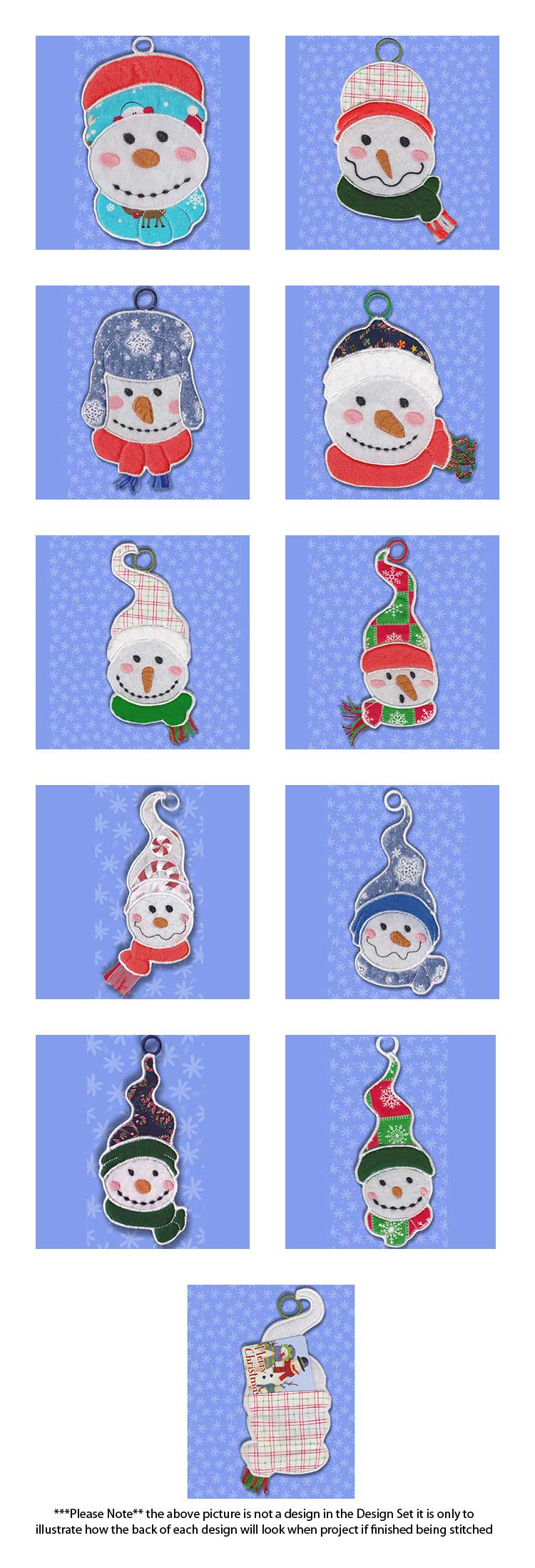 In The Hoop Applique Snowmen Gift Card Holders Embroidery Machine Design Details
