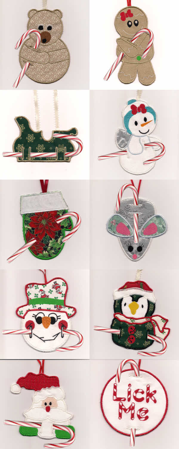 In The Hoop Candy Cane Ornaments Embroidery Machine Design Details