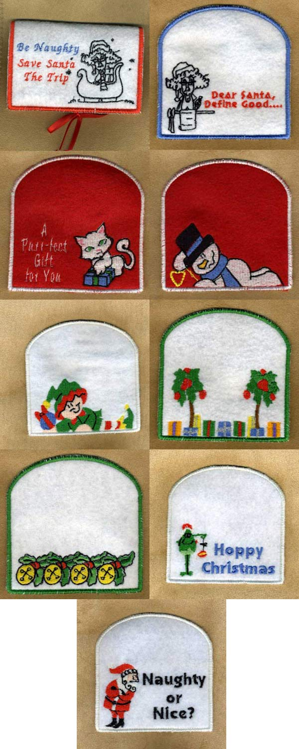 In The Hoop Christmas Gift Card Holders 2 Embroidery Machine Design Details