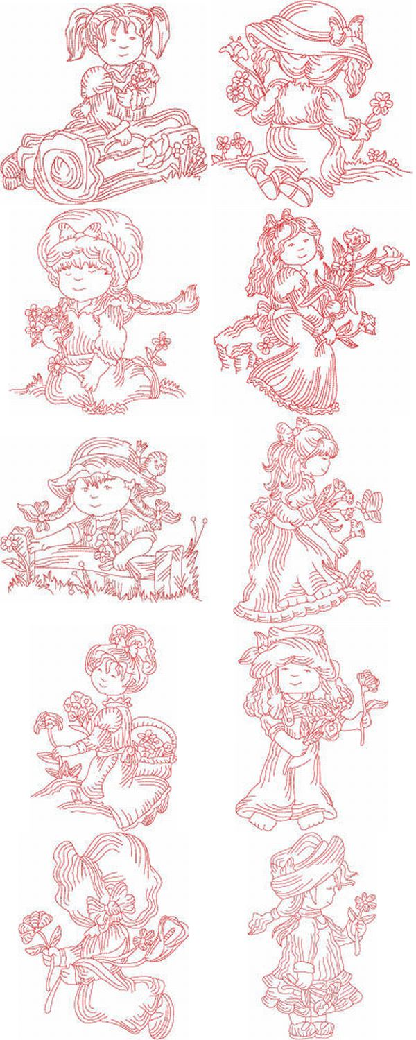 JN Bonnet Country Girl Embroidery Machine Design Details