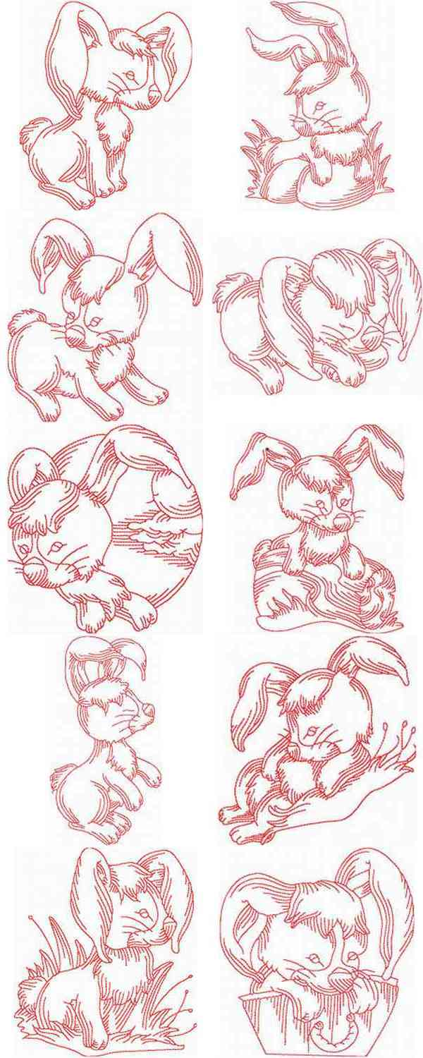 JN Rabbits Embroidery Machine Design Details