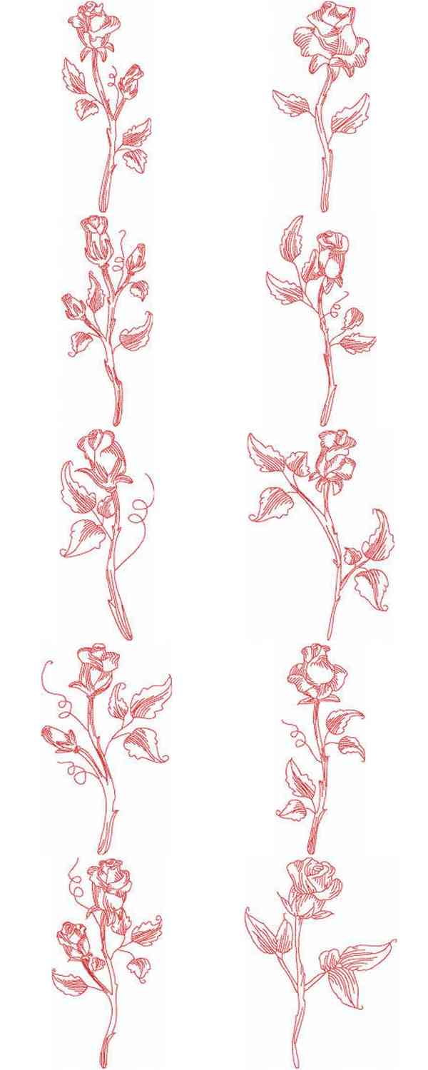 JN Roses 2 Embroidery Machine Design Details