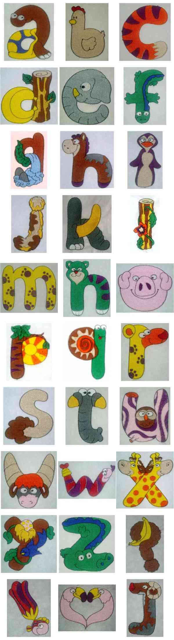 Machine embroidery designs lc animal alphabet set