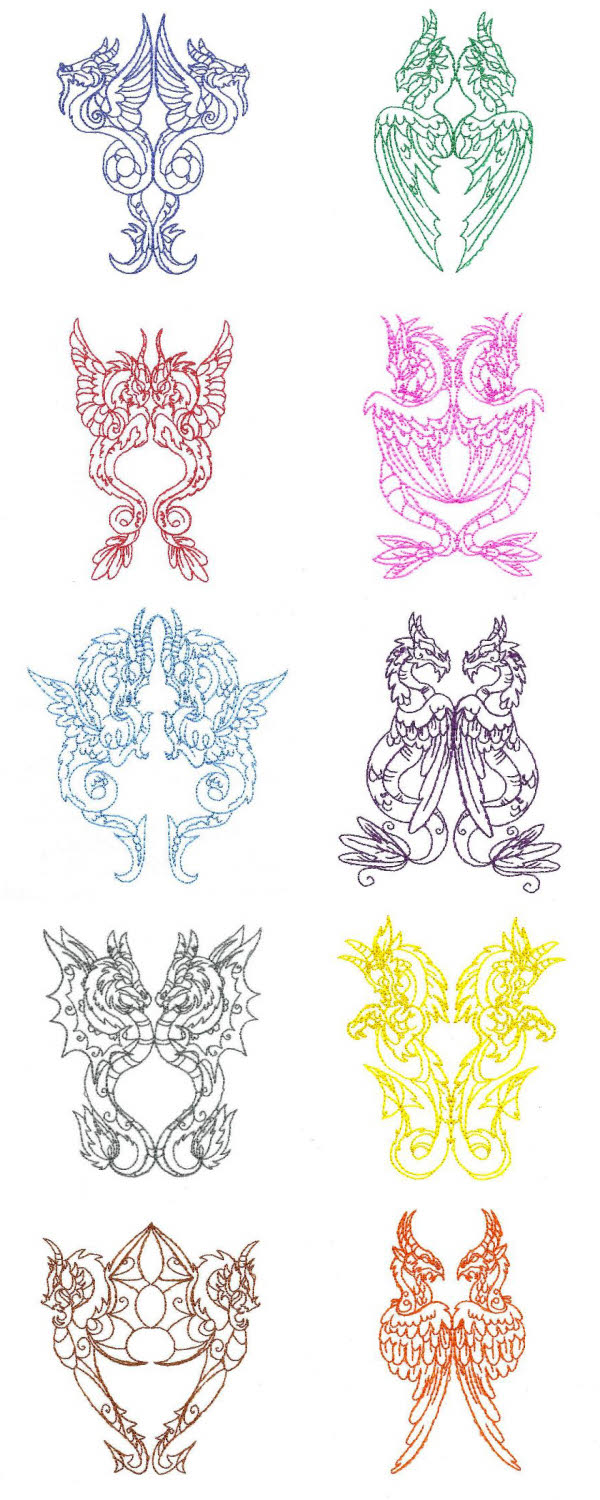 Legendary Dragons Embroidery Machine Design Details