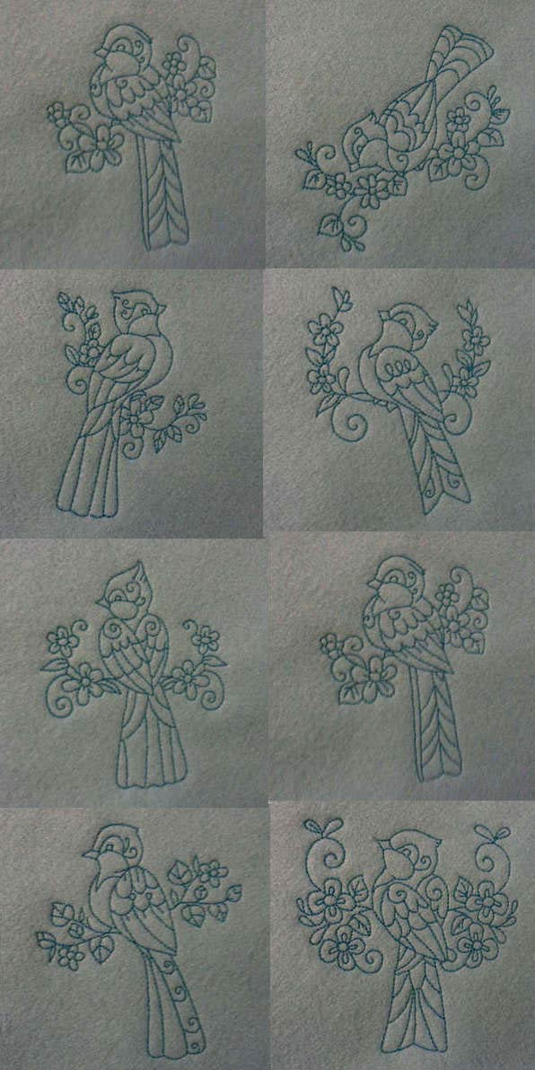 Little Birds Embroidery Machine Design Details