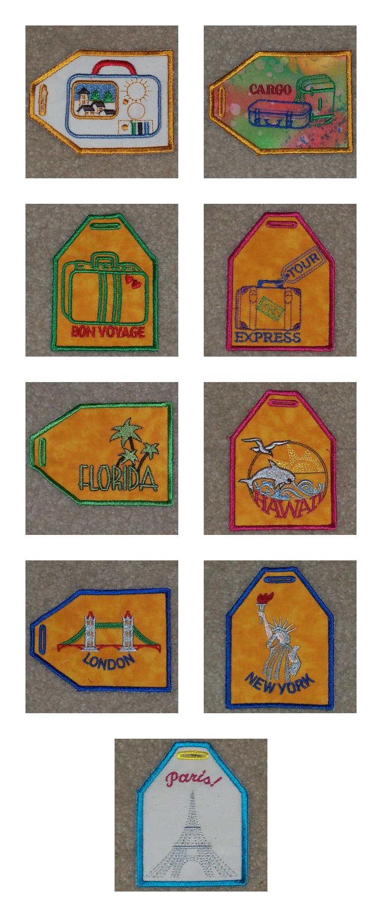 ITH Luggage Tags Embroidery Machine Design Details