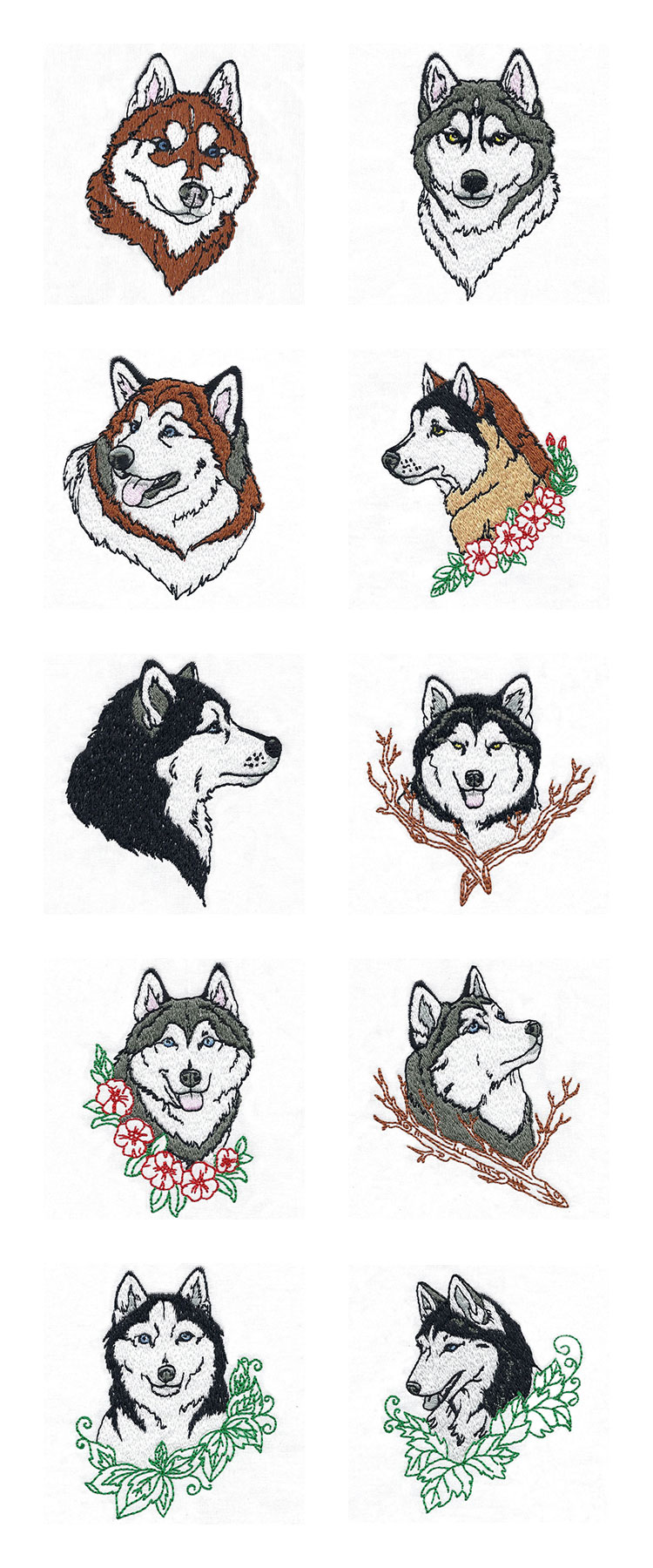 Malamutes and Huskies Embroidery Machine Design Details