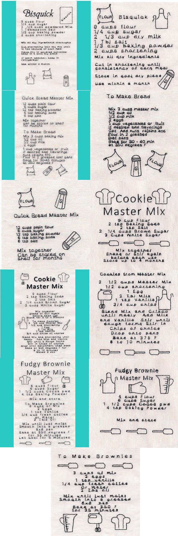 Master Mix Recipes Embroidery Machine Design Details
