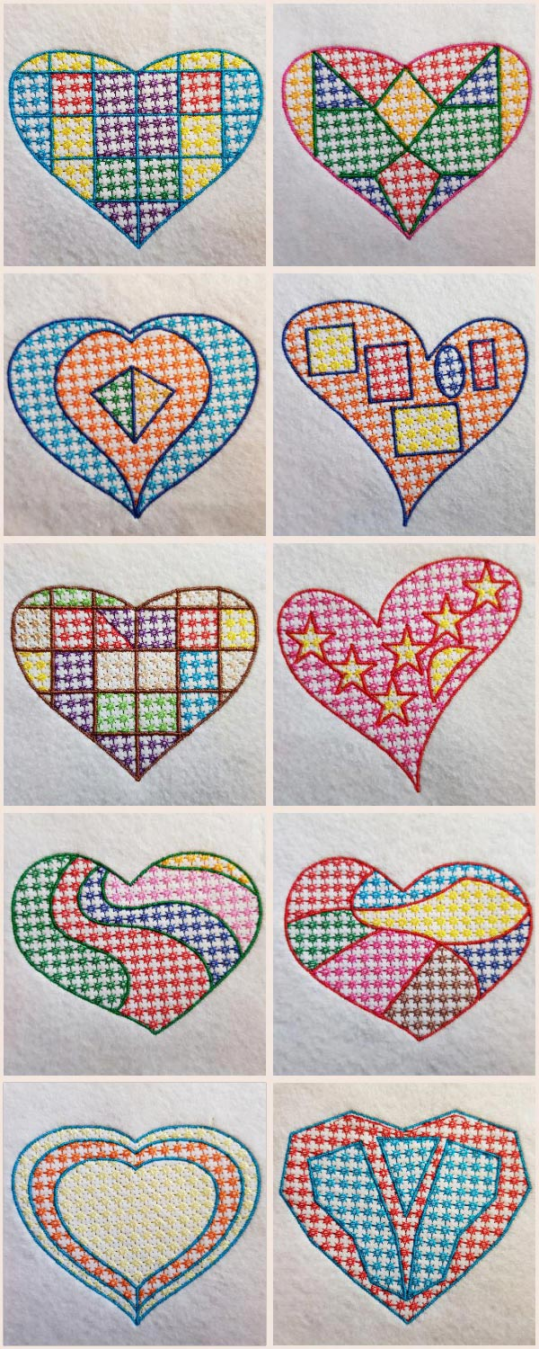 Mosaic Candlewick Hearts Embroidery Machine Design Details