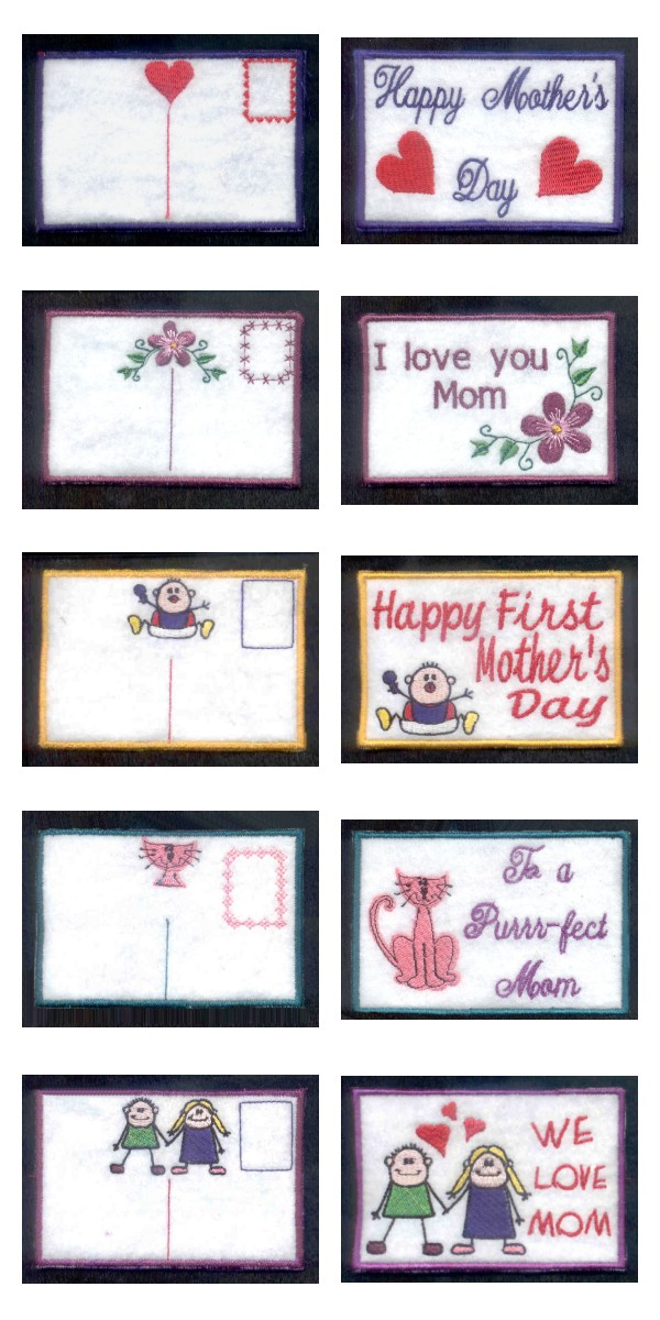 Mothers Day Post Cards Embroidery Machine Design Details