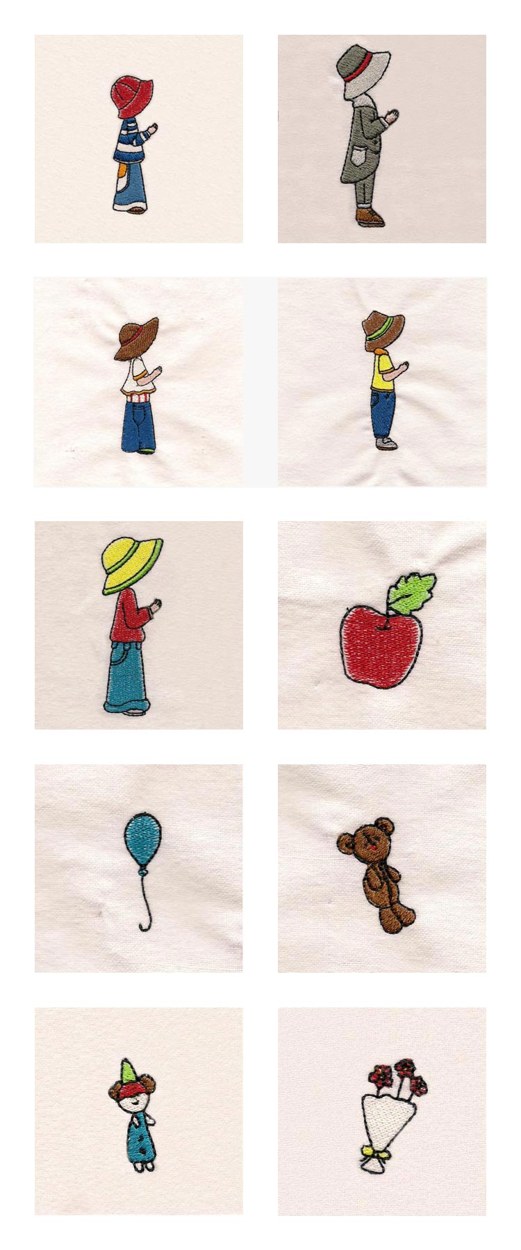 Mix and Match Sunbonnet Boys Embroidery Machine Design Details