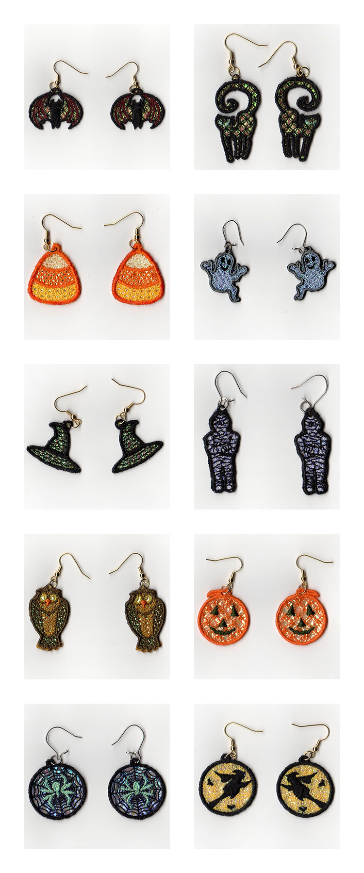 Mylar Halloween Earrings Embroidery Machine Design Details