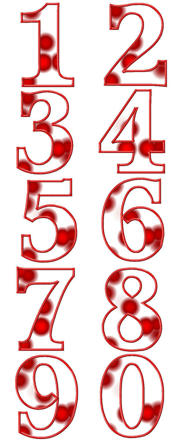 Numbers Applique Embroidery Machine Design Details